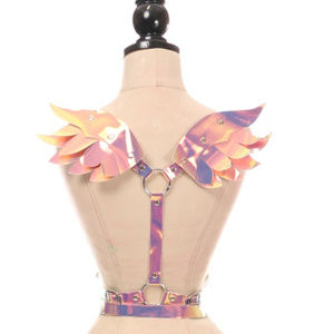 Festival Rave Pink/Gold Holo Body Harness w/Wings